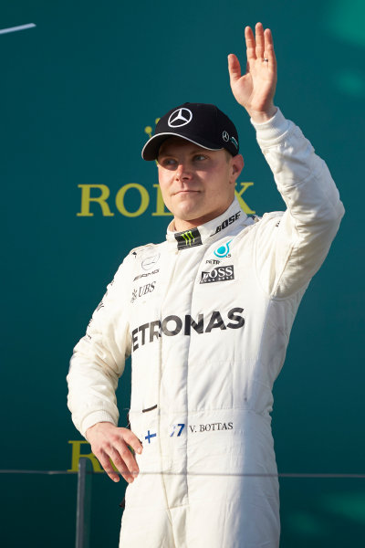 Albert Park, Melbourne, Australia. Sunday 26 March 2017. Valtteri Bottas, Mercedes AMG, 3rd Position, on the podium. World Copyright: Steve Etherington/LAT Images ref: Digital Image SNE25423