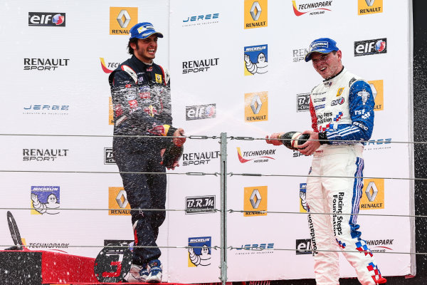 ALCANIZ (ESP) APR 25-27 2014 - First round of the World Series by Renault 2014 at Motorland Aragon. Carlos Sainz jr. #1 Dams. Podium. © 2014 Diederik van der Laan  / Dutch Photo Agency / LAT Photographic
