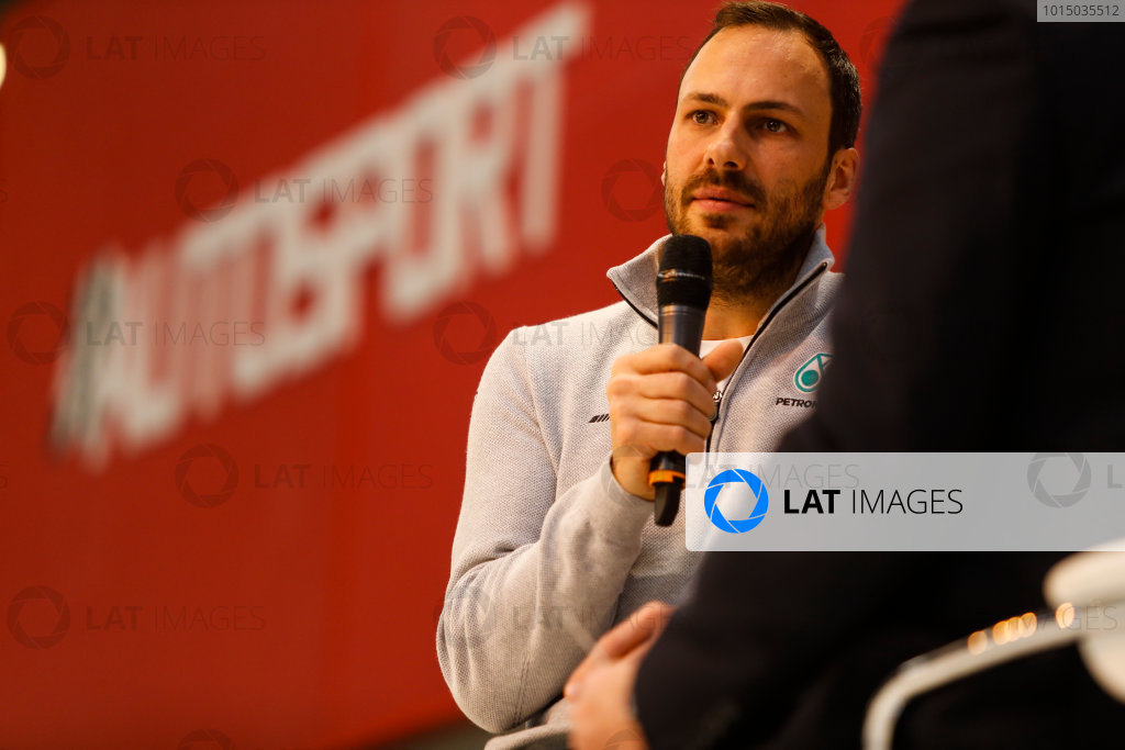 Autosport International Exhibition. National Exhibition Centre, Birmingham, UK. Thursday 11th January 2017. Gary Paffett speaks to Henry Hope-Frost on the Autosport Stage.World Copyright: Glenn Dunbar/LAT Images Ref: _U9I8641