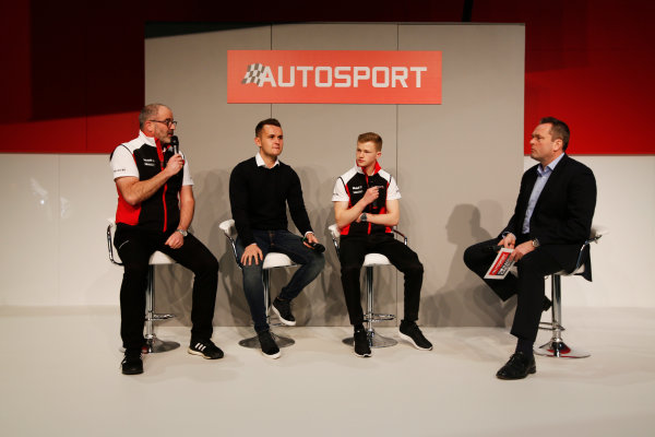 Autosport International Exhibition. National Exhibition Centre, Birmingham, UK. Friday 12th January 2018. James MacNaughton, Dan Harper and Charlie Eastwood of Porsche meet Henry Hope-Frost on the Autosport Stage. World Copyright: Joe Portlock/LAT Images Ref: _L5R8956