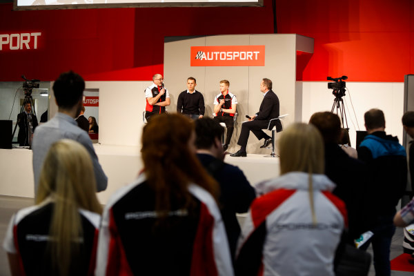 Autosport International Exhibition. National Exhibition Centre, Birmingham, UK. Friday 12th January 2018. James MacNaughton, Dan Harper and Charlie Eastwood from Porsche talk to Henry Hope-Frost on the Autosport Stage. World Copyright: Joe Portlock/LAT Images Ref: _U9I0753