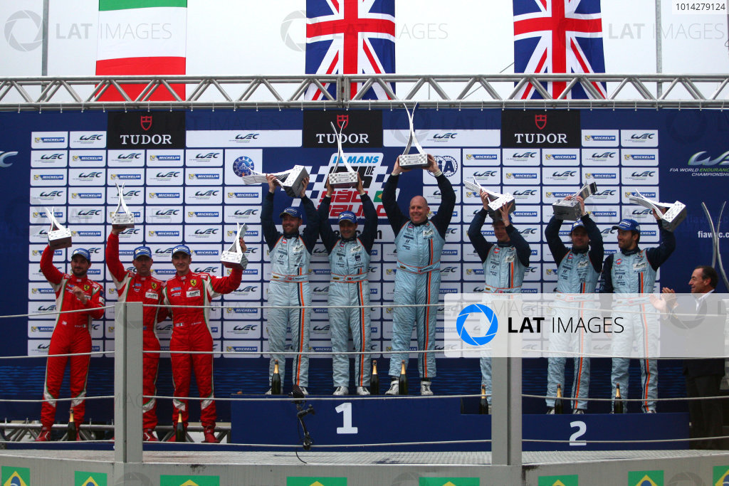 2014 World Endurance Championship, Interlagos, Brazil. 28th - 30th November 2014. GTE Am Podium(l-r) Stephen Wyatt / Michele Rugolo / Andrea Bertolini AF Corse Ferrari 458 Italia, Paul Dalla Lana / Pedro Lamy / Christoffer Nygaard Aston Martin Racing Aston Martin Vantage V8, Kristian Poulsen / David Heinemeier Hansson / Nicki Thiim Aston Martin Racing Aston Martin Vantage V8. World Copyright: Ebrey / LAT Photographic.