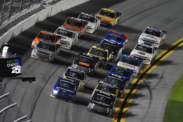 #38: Todd Gilliland, Front Row Motorsports, Ford F-150 Speedco and #18: Chandler Smith, Kyle Busch Motorsports, Toyota Tundra Safelite AutoGlass