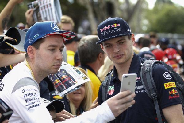 Max Verstappen (NED) Red Bull Racing fans selfie at Formula One World Championship, Rd1, Australian Grand Prix, Race, Albert Park, Melbourne, Australia, Sunday 26 March 2017.