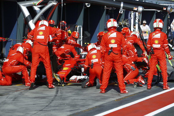 Kimi Raikkonen (FIN) Ferrari SF70-H pit stop at Formula One World Championship, Rd1, Australian Grand Prix, Race, Albert Park, Melbourne, Australia, Sunday 26 March 2017.