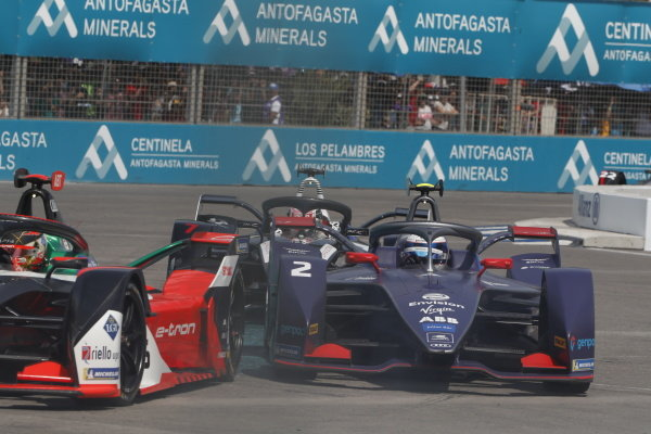 Daniel Abt (DEU), Audi Sport ABT Schaeffler, Audi e-tron FE06 leads Sam Bird (GBR), Envision Virgin Racing, Audi e-tron FE06 and Nico Müller (CHE), GEOX Dragon, Penske EV-4 at the start of the race