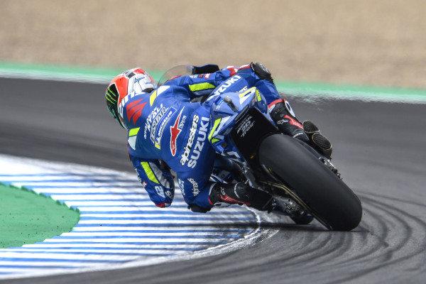 Alex Rins, Team Suzuki MotoGP, sliding.