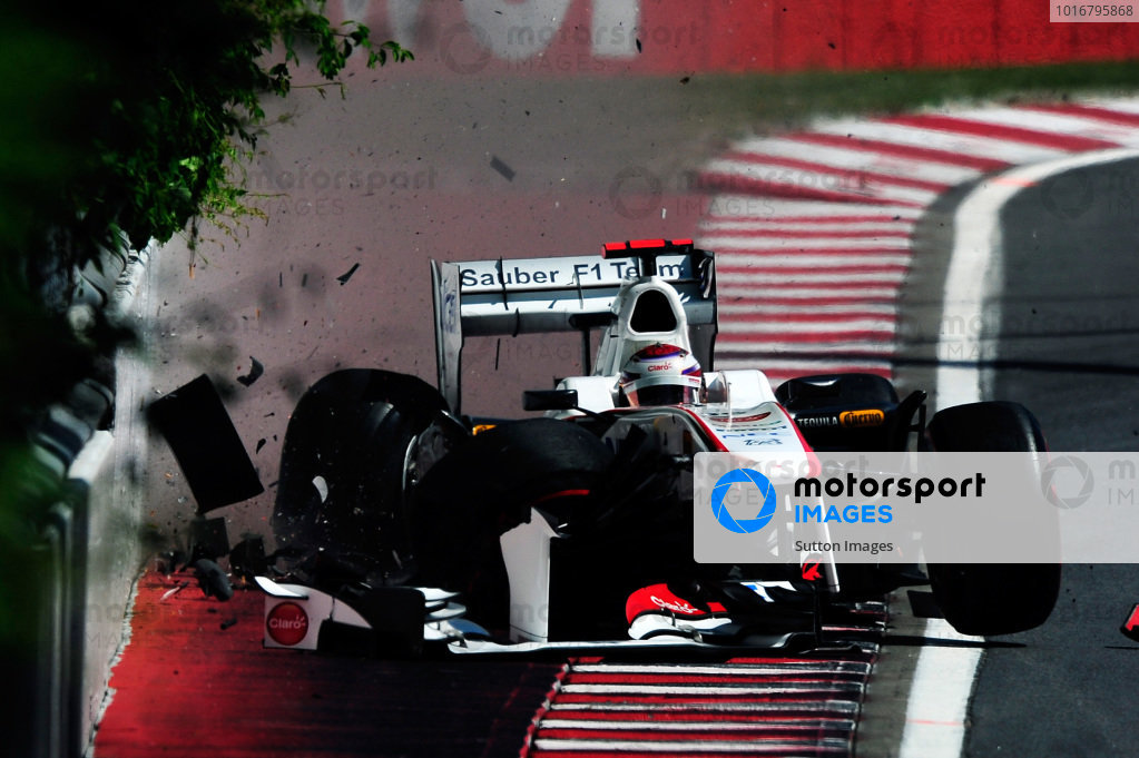 Kamui Kobayashi (JPN) Sauber C30 crashes in the second practice session. Formula One World Championship, Rd 7, Canadian Grand Prix, Practice Day, Montreal, Canada, Friday 10 June 2011.  BEST IMAGE