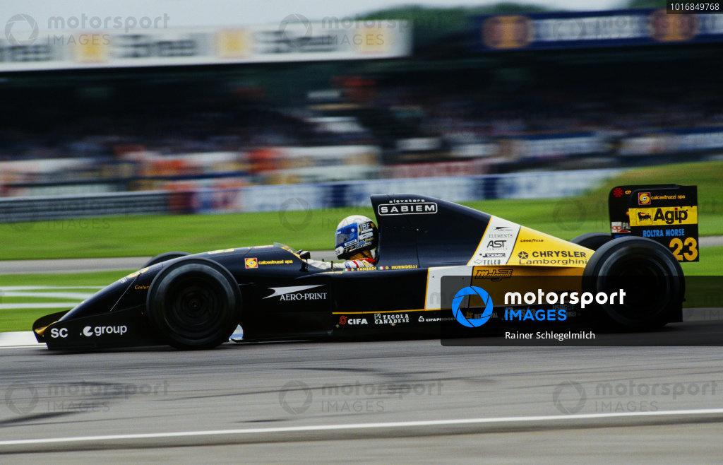 Alessandro Zanardi, Minardi M192 Lamborghini, during practice.