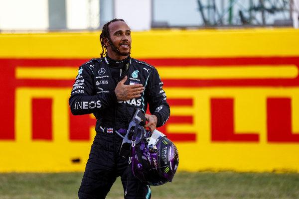 Lewis Hamilton, Mercedes-AMG Petronas F1, 1st position, celebrates in Parc Ferme