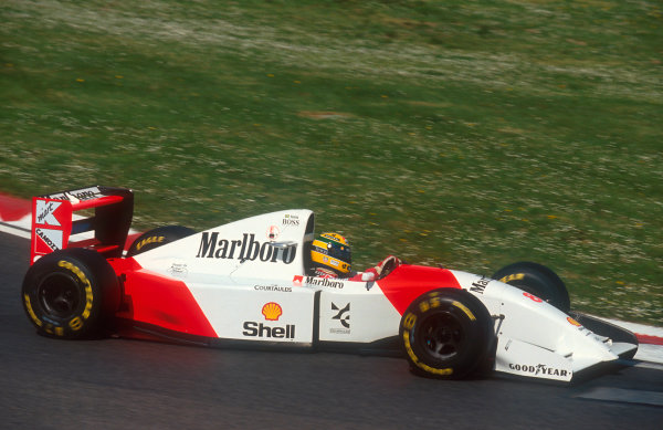 1993 San Marino Grand Prix.Imola, Italy.23-25 April 1993.Ayrton Senna (McLaren MP4/8 Ford). He exited the race with hydraulics failure.Ref-93 SM 10.World Copyright - LAT Photographic
