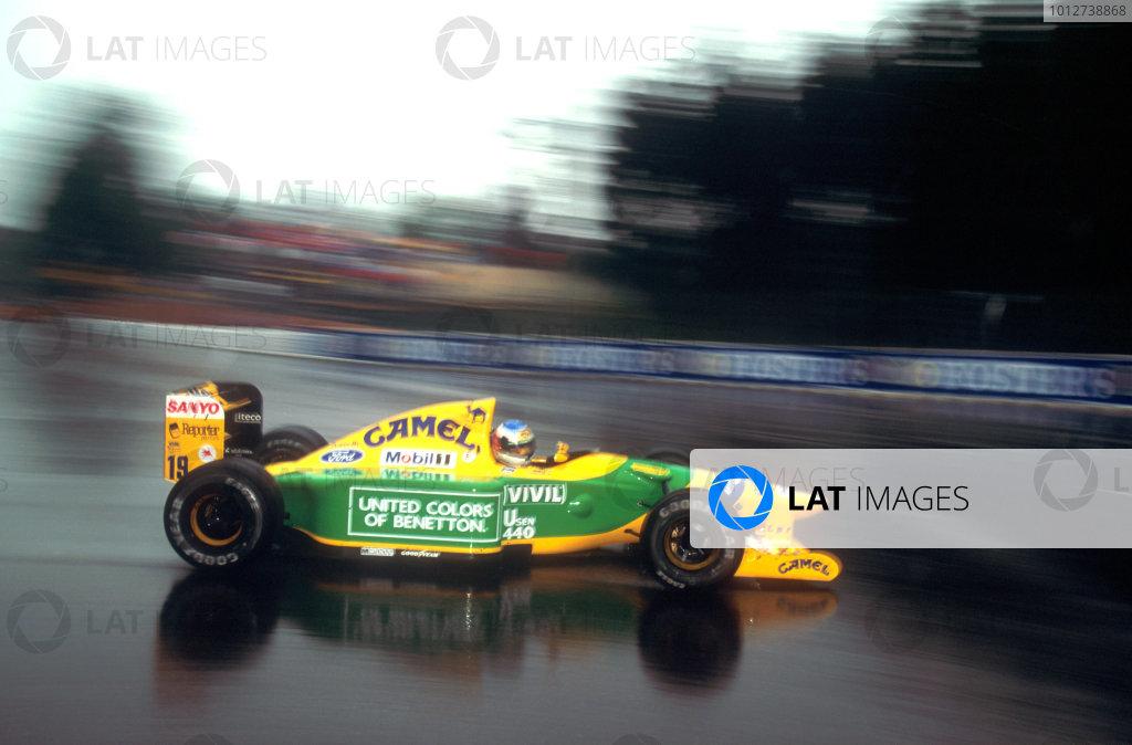 1992 Belgian Grand Prix.Spa-Francorchamps, Belgium.28-30 August 1992.Michael Schumacher (Benetton B192 Ford) 1st position. His maiden Grand Prix win.World Copyright: LAT Photographic