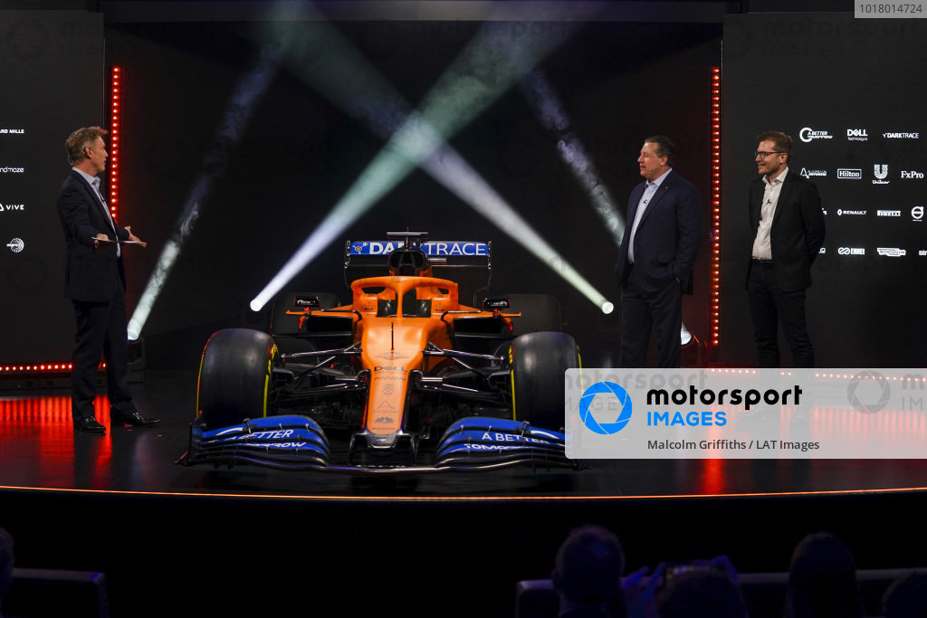 Simon Lazenby, Sky TV, Zak Brown, Executive Director, McLaren and Andreas Seidl, Team Principal, McLaren, on stage at the launch of the McLaren MCL35