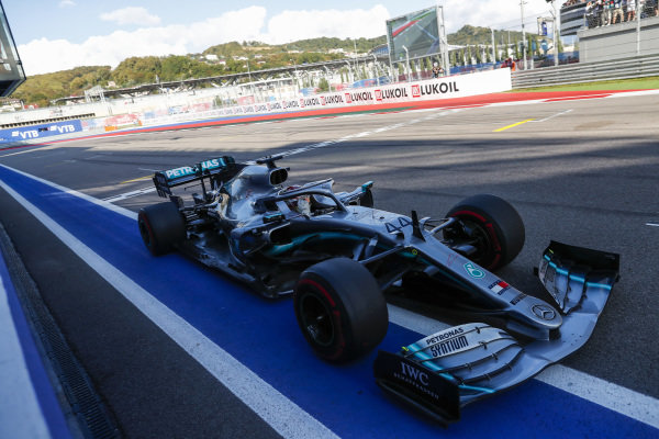 Lewis Hamilton, Mercedes AMG F1 W10, takes victory at the finish