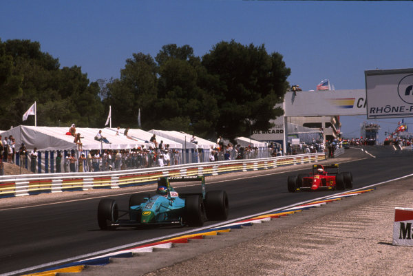 1990 French Grand Prix.Paul Ricard, Le Castellet, France.6-8 July 1990.Ivan Cpelli (Leyton House CG901 Judd) leads Alain Prost (Ferrari 641). They finished in 2nd and 1st positions respectively.World Copyright: LAT Photographicref: 35mm Image