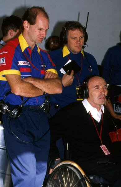 Williams Technical Directors Adrian Newey (Left) and Patrick Head (Right) watch the race action with team owner Frank Williams.  