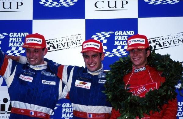 Race Winner Soheil Ayari (FRA) Graff Racing (centre), 2nd placed Patrice Gay (FRA) Graff Racing (left), and 3rd placed Ernique Bernoldi (BRA) Prometecme (right) 44th Macau Formula Three Grand Prix, Macau, Hong Kong, 16 November 1997