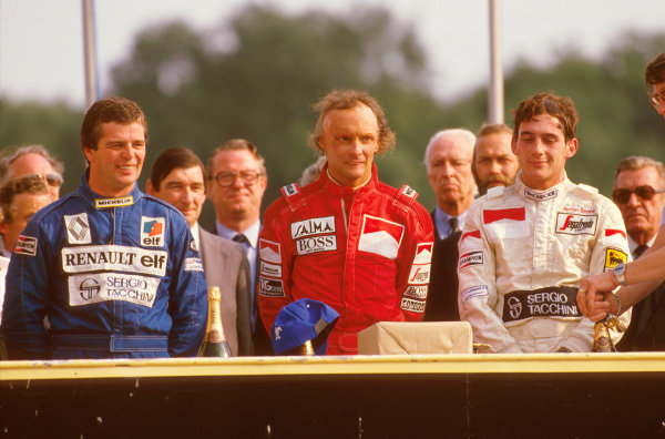Brands Hatch, England.20-22 July 1984.Niki Lauda (McLaren TAG Porsche) 1st position, Derek Warwick (Equipe Renault) 2nd position and Ayrton Senna (Toleman Hart) 3rd position on the podium.Ref-84 GB 13.World Copyright - LAT Photographic