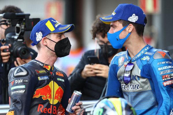 Race winner Joan Mir, Team Suzuki MotoGP, third place Pol Espargaro, Red Bull KTM Factory Racing.