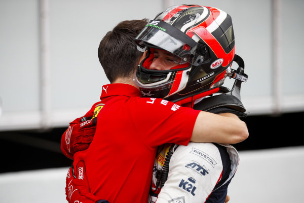 Charles Leclerc, Ferrari celebrates with his brother Race winner Arthur Leclerc in Parc Ferme