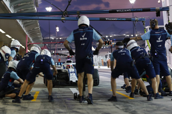 Robert Kubica, Williams FW41 Mercedes, makes a pit stop.