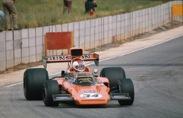 Kyalami, South Africa. 27th February - 1st March 1975.Guy Tunmer,  Lotus-Ford 72, 11th position, action. World Copyright: LAT Photographic.Ref:  75SA10.
