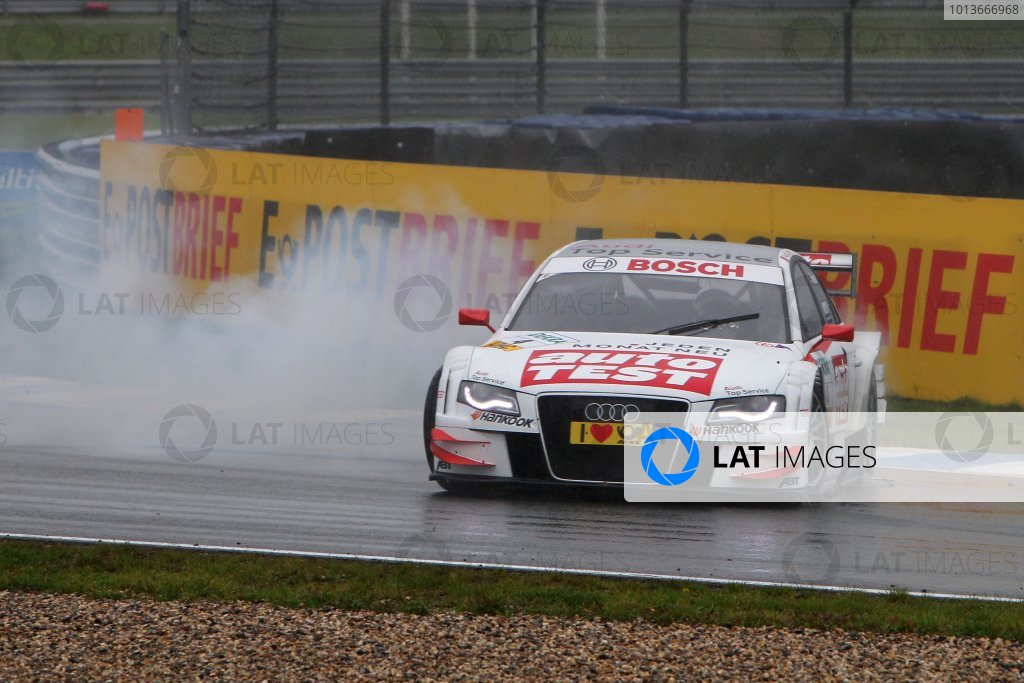 The spin of Timo Scheider (GER), Audi Sport Team Abt, AUTO TEST Audi A4 DTM (2009).DTM, Rd8, Oschersleben, Germany, 16-18 September 2011 Ref: Digital Image dne1118se538
