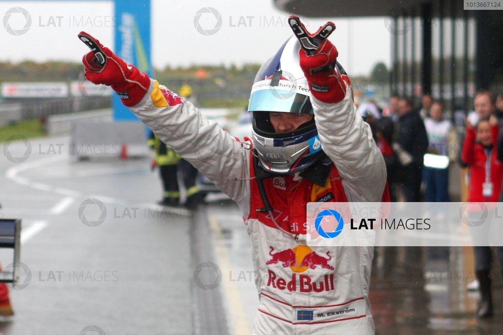 Race winner Mattias Ekstrom (SWE), Audi Sport Team Abt Sportsline, Red Bull Audi A4 DTM (2009) celebrates.DTM, Rd8, Oschersleben, Germany, 16-18 September 2011 Ref: Digital Image dne1118se510