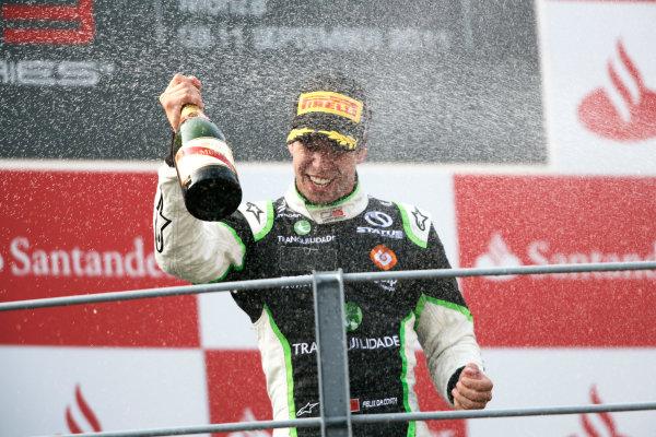 Round 8. Autodromo di Monza, Monza, Italy. 11th September 2011. Sunday Race Two.  Antonio Felix Da Costa, (POR, Status Grand Prix) celebrates victory on the podium.Portrait. Photo: Drew Gibson/GP3 Media Service. ref: Digital Image _Y2Z5310