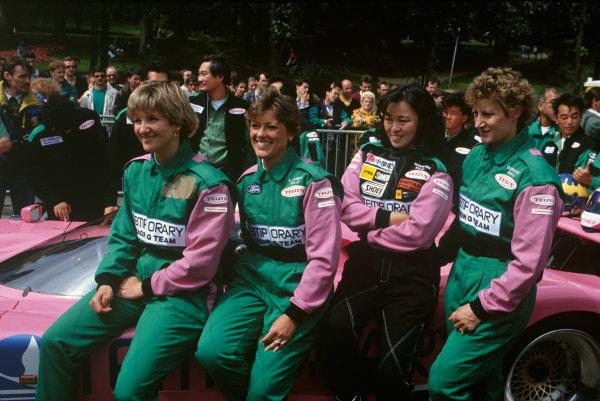 Le Mans, France. 22-23 June 1991. Cathy Muller / Lyn St. James /  Shunji Kasuya / Desire Wilson (Spice SE90C-Ford) , retired, portrait. World Copyright: LAT Photographic. Ref: 91LM16.