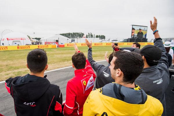 2017 FIA Formula 2 Round 6. Silverstone, Northamptonshire, UK. Saturday 15 July 2017. Alexander Albon (THA, ART Grand Prix), Charles Leclerc (MCO, PREMA Racing), Nicholas Latifi (CAN, DAMS).  Photo: Zak Mauger/FIA Formula 2. ref: Digital Image _54I5180