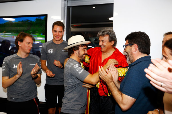 Hungaroring, Budapest, Hungary.  Saturday 29 July 2017. Fernando Alonso, McLaren, celebrates his birthday. World Copyright: Steven Tee/LAT Images  ref: Digital Image _R3I3563