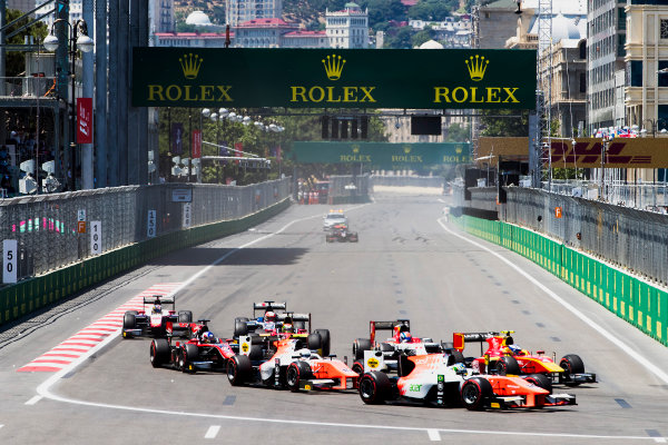 2017 FIA Formula 2 Round 4. Baku City Circuit, Baku, Azerbaijan. Saturday 24 June 2017. Sergio Sette Camara (BRA, MP Motorsport), Jordan King (GBR, MP Motorsport) at the start of the race. Photo: Zak Mauger/FIA Formula 2. ref: Digital Image _56I7441