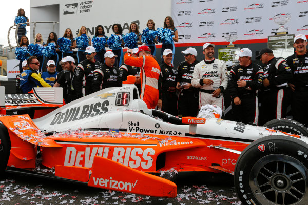 Verizon IndyCar Series Honda Indy Toronto Toronto, ON CAN Sunday 16 July 2017 Josef Newgarden, Team Penske Chevrolet celebrates in Victory Lane World Copyright: Phillip Abbott LAT Images ref: Digital Image abbott_toronto_0717_7495