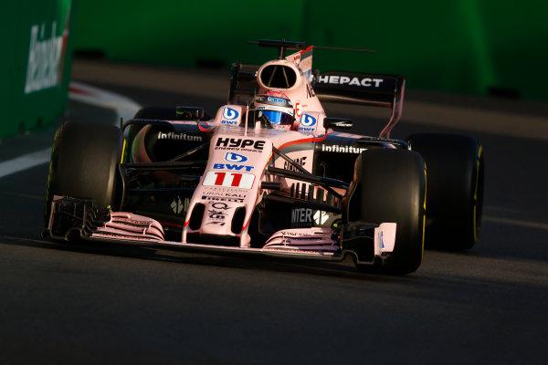 Baku City Circuit, Baku, Azerbaijan. Friday 23 June 2017. Sergio Perez, Force India VJM10 Mercedes.  World Copyright: Steven Tee/LAT Images ref: Digital Image _O3I1741