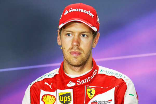 Hungaroring, Budapest, Hungary. Sunday 26 July 2015. Sebastian Vettel, Ferrari, 1st Position, in the Press Conference. World Copyright: Alastair Staley/LAT Photographic ref: Digital Image _R6T9470