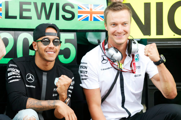 Spa-Francorchamps, Spa, Belgium. Sunday 23 August 2015. Lewis Hamilton, Mercedes AMG, 1st Position, celebrates with his team. World Copyright: Alastair Staley/LAT Photographic ref: Digital Image _79P5717