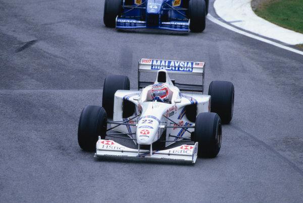 Imola, Italy. 25-27 April 1997.Rubens Barrichello (Stewart SF1 Ford).Ref-97 SM 29.World Copyright - LAT Photographic