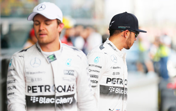 Shanghai International Circuit, Shanghai, China. Saturday 11 April 2015. Nico Rosberg, Mercedes AMG, and Lewis Hamilton, Mercedes AMG. World Copyright: Steven Tee/LAT Photographic. ref: Digital Image _L4R7619