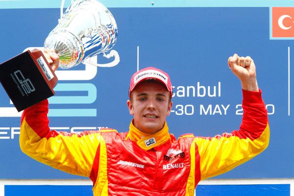 Round 3 Istanbul Park, Istanbul Turkey 30th May. Sunday Race.Dani Clos (ESP, Racing Engineering) celebrates his victory on the podium. Portrait. Photo: Glenn Dunbar/GP2 Media Service.Ref: _G7C4930 jpg
