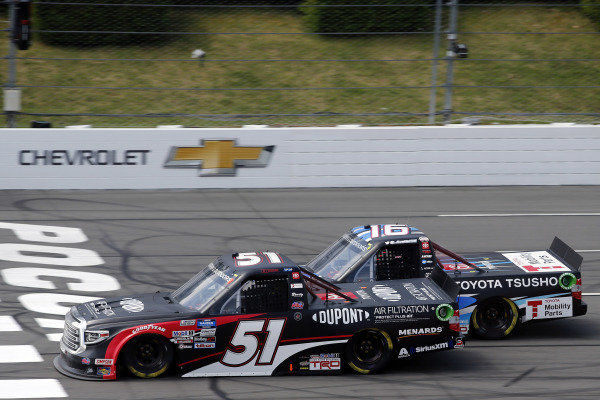 #51: Brandon Jones, Kyle Busch Motorsports, Toyota Tundra DuPont Air Filtration/Menards and #16: Austin Hill, Hattori Racing Enterprises, Toyota Tundra Toyota Tsusho
