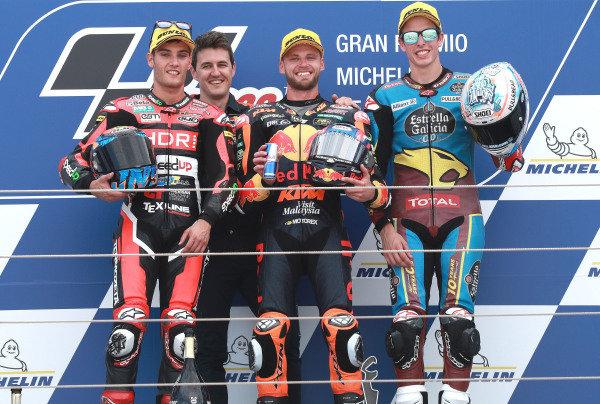Podium: race winner Brad Binder, KTM Ajo, second place Jorge Navarro, Speed Up Racing, third place Alex Marquez, Marc VDS Racing