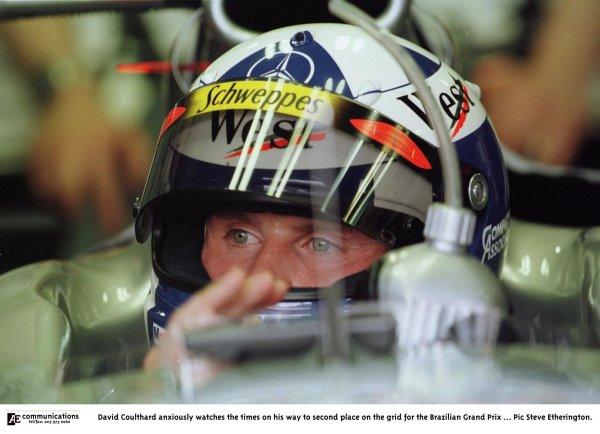 1998 Brazilian Grand Prix.Interlagos, Sao Paulo, Brazil.27-29 March 1998.David Coulthard (McLaren MP4/13 Mercedes-Benz).World Copyright - Steve Etherington/LAT Photographic