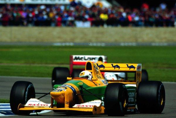1992 British Grand Prix.Silverstone, England.10-12 July 1992.Martin Brundle (Benetton B192 Ford) 3rd position.World Copyright - LAT Photographic