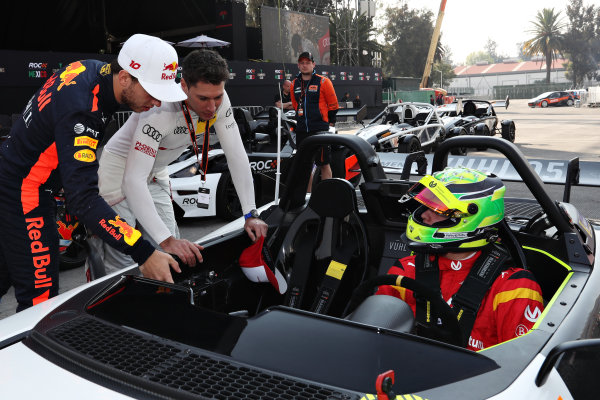 Pierre Gasly (FRA) and Loic Duval (FRA) talk to Mick Schumacher (GER) as he prepares to drive the VUHL 05 ROC Edition 2019