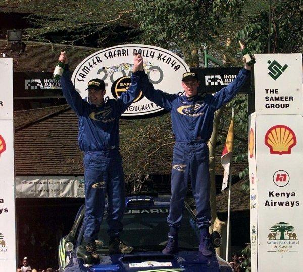 2000 World Rally ChampionshipRound 3, Safari WRC25th - 27th Feb 2000Richard Burns, Subaru Impreza - podium.Photo: McKleinTel: +44 (0)181 251 3000Fax: +44 (0)181 251 3001Somerset House,Somerset Road,Teddington,Middlesex,TW11 8RUUnited Kingdon.