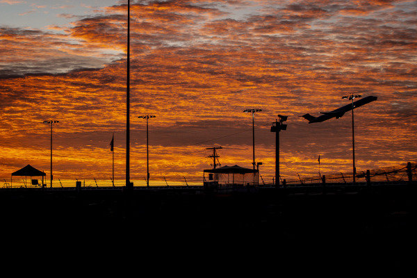 Airplane taking off, Sunrise