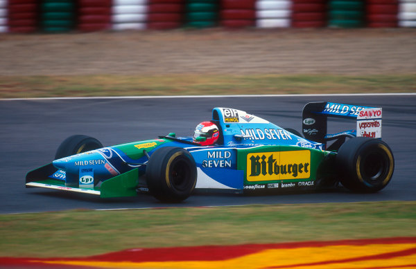 Suzuka, Japan. 4th - 6th November 1994. Johnny Herbert (Benetton B194 Ford). He exited the race after he aquaplaned into a series of violent spins where he was lucky to only glance a wall and lose a nosecone.Ref-94 JAP 13.World Copyright - LAT Photographic