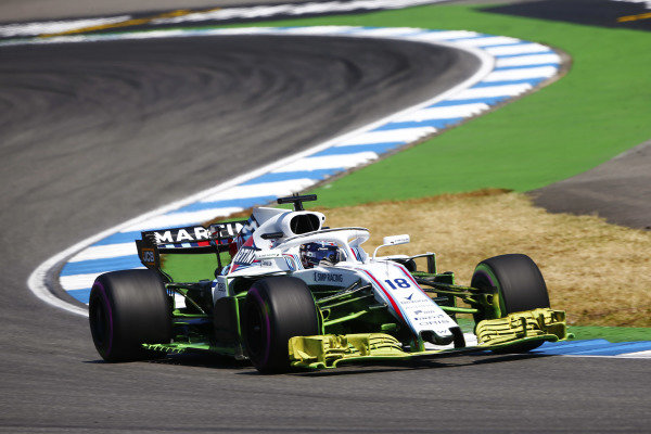 Lance Stroll, Williams FW41 Mercedes, drives with aero paint.