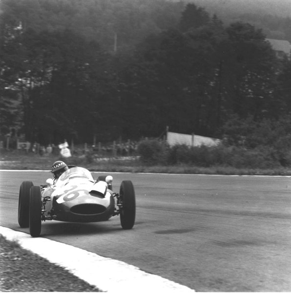 1960 Belgian Grand Prix.Spa-Francorchamps, Belgium.17-19 June 1960.Chris Bristow (Cooper T51 Climax). He later had a fatal accident after losing control of his car. He slid into some trackside fencing and was killed instantly in a gruesome accident.Ref-6637B/W.World Copyright - LAT Photographic